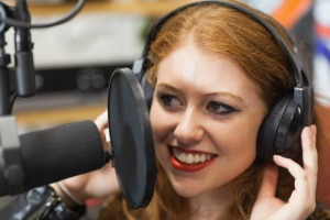woman talking on radio
